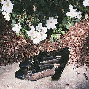 VTG Mesh & Patent Leather Kitten Heels